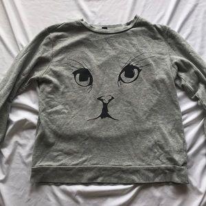 Light Gray Cat Face Sweater